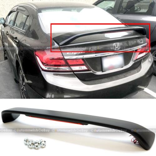 For 13-15 Honda Civic 4DR SI Unpainted Trunk Spoiler Wing LED Brake Light Lamp