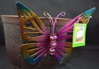 Butterfly Pink Yellow Sitter Hanger Huggers Garden Flower Pot Percher Statue 6