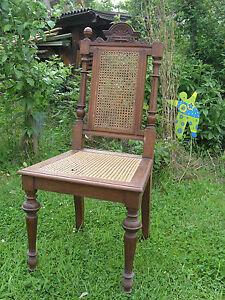 antiker stuhl gr nderzeit esszimmerstuhl geflecht hochlehner drechselarbeit ebay. Black Bedroom Furniture Sets. Home Design Ideas