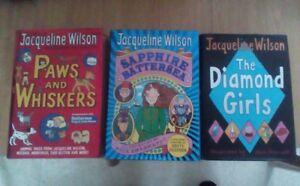 3-Jacqueline-Wilson-Hardback-books-Paws-and-Whiskers-The-Diamond-Girls-Sap