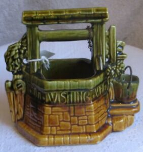 Vintage-McCoy-USA-Wishing-Well-Grant-A-Wish-Pottery-Planter-Chain-amp-Bucket