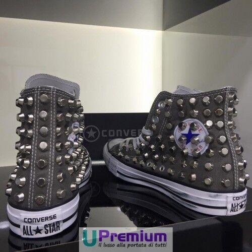 Converse All Handmade Star Grigio Scuro Rock Zapatos Borchiate Handmade All Borchie Hombre Mujer c2ad2f