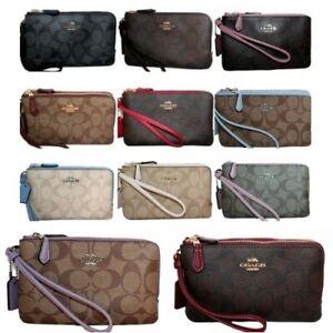 Coach-Double-Zip-Wristlet-F87591-Signature-PVC-Leather-Trim-Wallet-Clutch