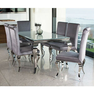 Gentil Louis Dining Table Set With Chairs White Stainless