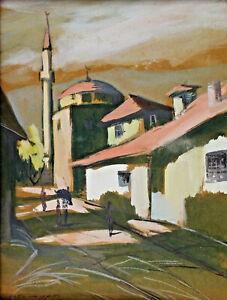 Signe-et-Date-1937-Vue-sur-des-Mosquee-Minaret-Turquie-Arabie