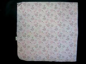 First-Moments-Pink-Brown-Flower-Cotton-Receiving-Security-Baby-Blanket