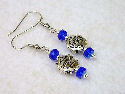 Blue Glass Bead Southwest Western Design Earrings Silver Tone