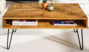 Dettagli su Tavolino Salotto Design Industriale Tavolo in Legno 100cm  Natura Mango Massello
