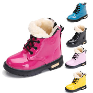 UK Kids Boys Girls Winter Warm Lace-Up Fur Lined Bovver Ankle Boots Martin Shoes