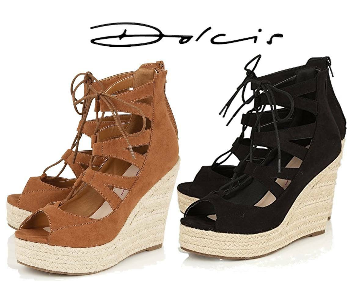 DOLCIS HILARY WOMENS ESPADRILLLE WEDGE HEELS SANDALS SHOES BRAND NEW CHOOSE