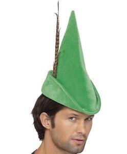La imagen se está cargando Disfraz-hombre-Robin-Hood-Sombrero-Verde -Gorra-con- 92f9e28e930