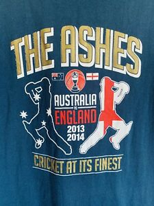 The Ashes Australia v England 2013 2014 Cricket Team Men's T Shirt Size XL Blue