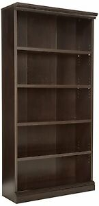 Sauder 412177 Solid Wood Library Bookcase With 5 Shelves In Estate Black Finish 689828561636 Ebay