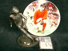 MANCHESTER UNITED GEORGE BEST GIFT SET COLLECTION STATUE FIGURINE MODEL & PLATE