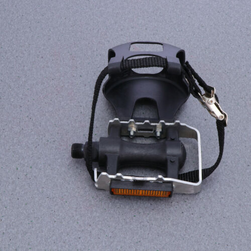 1 Pair Bike Pedals Universal Bicycle Anti-skid Pedals with Toe Clip and Straps