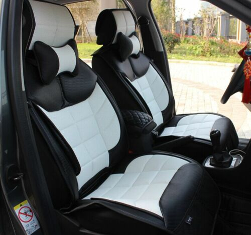 Carbon Black White Sport style Car Seat Cover Fit For 5 seats vehicle easy DIY