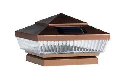 Solar Post Cap Deck Fence Lights Copper Colored 4x4 PVC Vinyl Wood Post 2 Pack