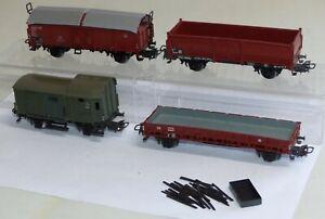 4-Maerklin-Gueterwagen-4607-Rungenwagen-4619-Schiebedachwagen-4600-4602-H0-1-87