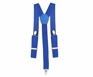 35mm-Ancho-Elastico-Azul-Real-Hombre-Tirantes-con-Clip-Para-Pantalones-Vaqueros