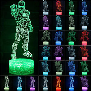 Marvel-Superhero-Iron-Man-3D-USB-LED-Night-Lights-7-Colors-Touch-Room-Desk-Lamps