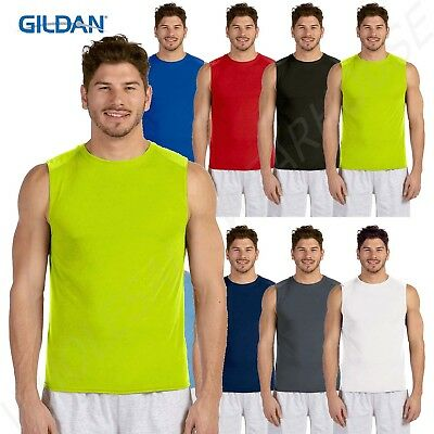Gildan Performance Sleeveless Athletic Vest Tank Fitness Muscle Workout Tshirt