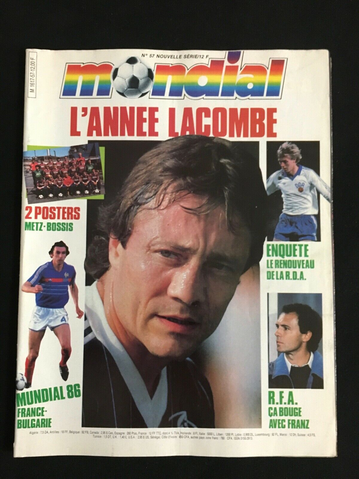 MAGAZINE MONDIAL Nº57 MEXICO 86 ANGLETERRE - FRANCE - BULGARIE- ALLEMAGNE - METZ
