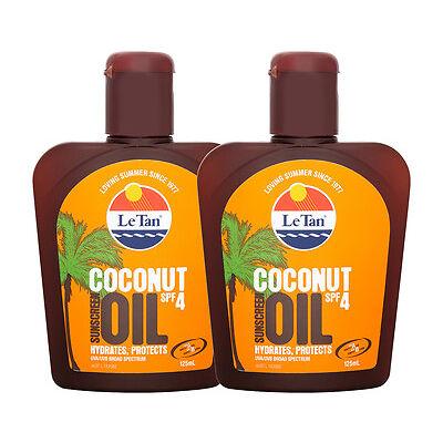2 x Le Tan Coconut Oil SPF4 Sunscreen 125mL