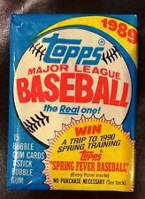 (2) 1989 Topps Baseball Wax Packs Lot (Factory Sealed - Unopened) - FS - QTY