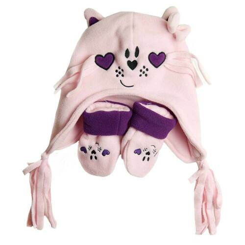 Baby Girls Cat and Mouse Hat and Mitt Set Pink Purple Lilac 6-23 Months