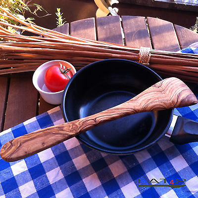 2 X Pfannenwender Spatola Saracinesca Olive Olive Legno Pezzo Unico In Legno 25cm- Né Troppo Duro Né Troppo Morbido