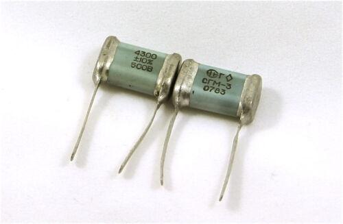 NOS 4300pF 500V 10% USSR Mica Silver capacitors. Lot of 2 USA seller