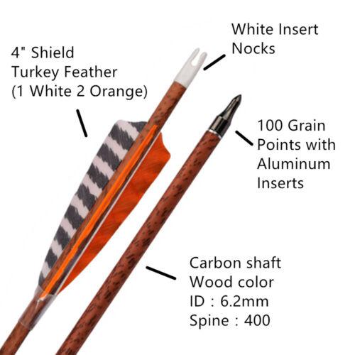 """Details about  /Carbon Longbow Arrows Practice Target Arrow 4/"""" Turkey Feather Vanes Arrow 6Pcs"""