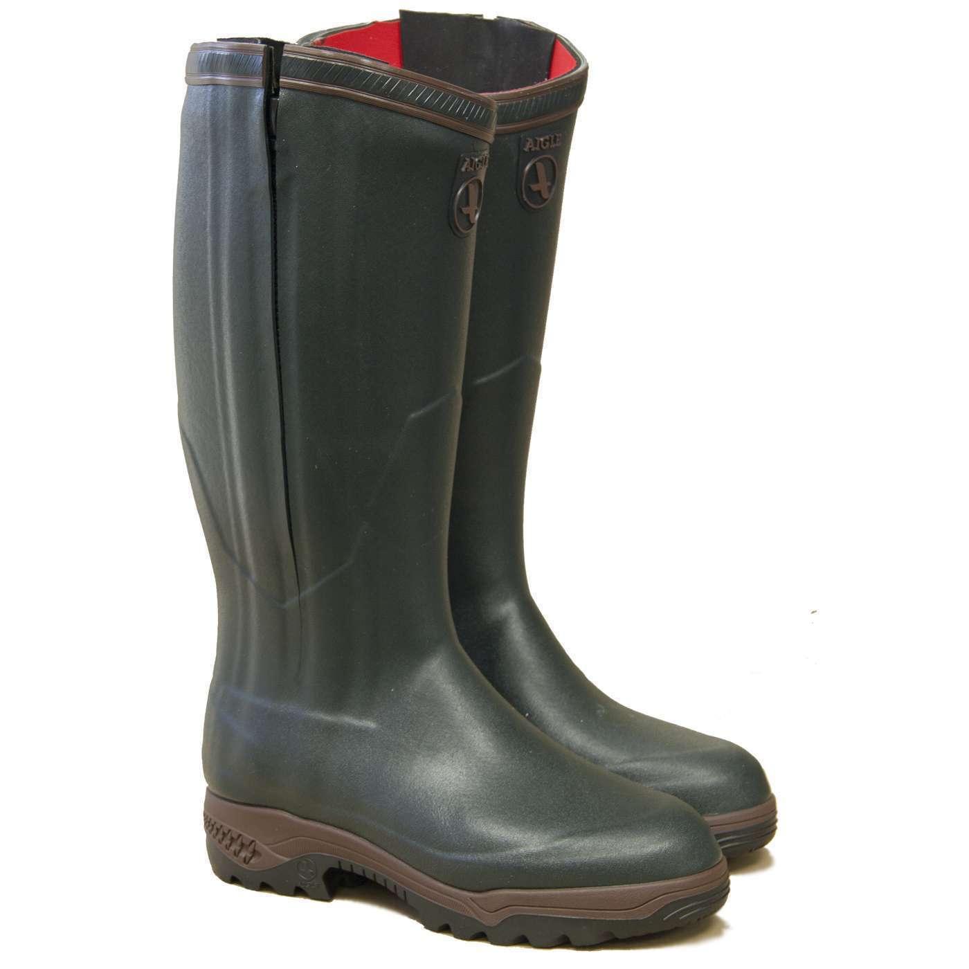 Aigle Parcours 2 ISO Cerniera Intera Open Stivali di gomma-BRONZO/VERDE SCURO