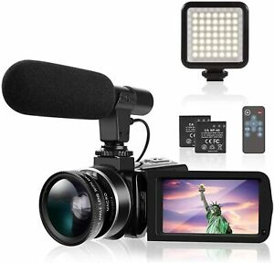 4K Camcorder Ultra HD Camcorder Video Camera with Microphone LED Fill Light for