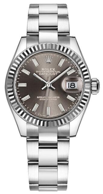 Rolex Lady Datejust 28 Dark Grey Dial Oystersteel Women S Watch 279174
