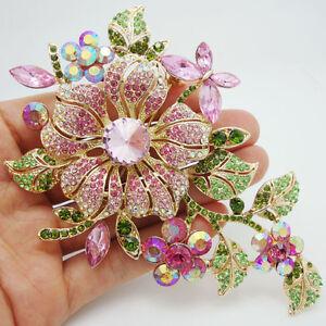 High-quality-Fashion-Pretty-Orchid-Pink-Rhinestone-Crystal-Flower-Brooch-Pin