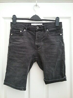Topman Mens Grey Super Skinny Stretch Shorts Size Waist 28 Excellent Condition Shorts