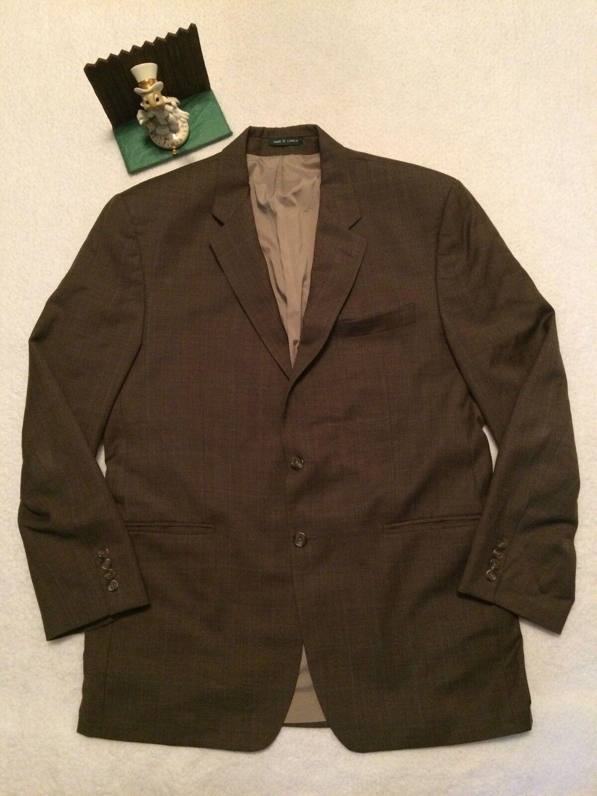 LAUREN RALPH LAUREN Brown 100% Wool Tweed 2-Button Classic Fit Blazer 44L NICE