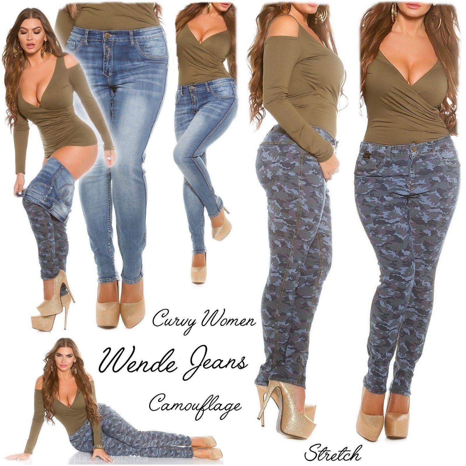 NEU 46 ✰ 3XL Wende-Jeans Stretch Camouflage & Stonewashed Tarn Army ✰ Blau-Mix