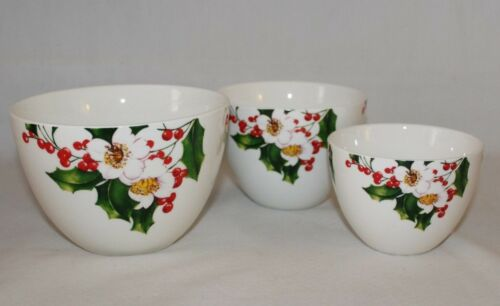 Ciroa Holly /& Flowers Holiday Porcelain Nesting Bowls Set of Three New