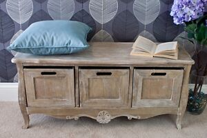 Image Is Loading Shabby Chic Hallway Storage Bench Furniture Vintage Rustic