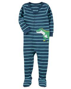 Carter s Blue Striped Dinosaur Knit Sleeper Pajamas PJ s Baby Boy 24 ... 3811e3d44