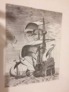Gravure-LITHOGRAPHIE-XXe-Marine-bateau-FH-Bruegel-papier-ARCHES-n-2