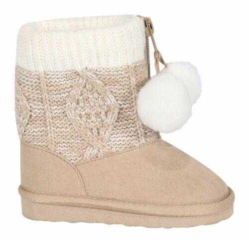UK 1-5 Baby Girl Knit Pom Pom Chaud Bottes Chaussons Infant Toddler Newborn neige UK