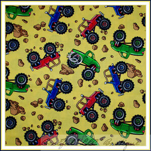 Boneful fabric fq cotton quilt yellow blue boy baby for Monster truck fabric