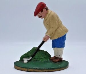 Hand-Painted-Cast-Iron-Golfer-Doorstop-Vintage-Style-8-034-Tall
