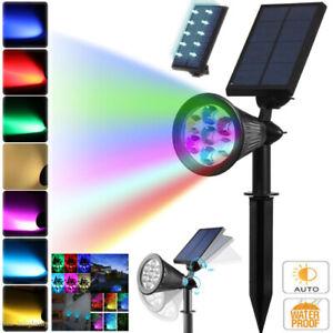 7-LED-Energia-Solar-Spotlight-Lampara-de-jardin-al-aire-libre-luz-de-Paisaje-De-Cesped-Impermeable