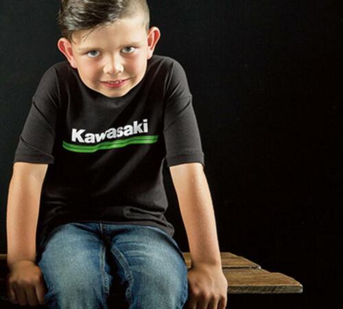 Kawasaki 3 Green Lines Youth Short Sleeve T-Shirt Black