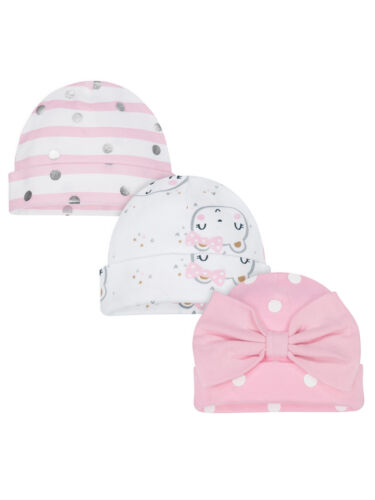 Gerber Baby Girls 3 Pack Organic Caps NEW Size 0-6 Months Hats