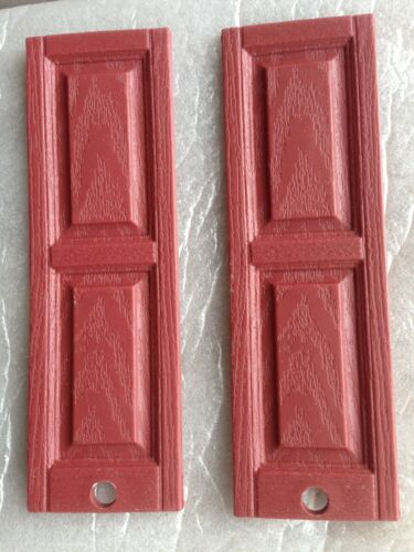 112 scale 4 Pair 8 pieces Raised panel plastic dollhouse shutters Medium Red